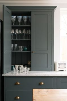 12 Farrow and Ball Kitchen Cabinet Colors For The Perfect English Kitchen - laurel home. Loads of color ideas 12 Farrow and Ball Kitchen Cabinet Colors For The Perfect English Kitchen - laurel home. Loads of color ideas Green Kitchen Cabinets, Kitchen Cabinet Colors, Kitchen Pantry, Kitchen Colors, Kitchen Design, Kitchen Ideas, Kitchen Post, Kitchen Grey, Shaker Kitchen