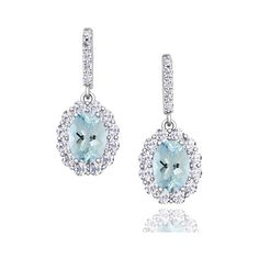 Halo Diamond and Aquamarine Drop Earrings in 18k Gold, 7x5mm (55 850 UAH) ❤ liked on Polyvore featuring jewelry, earrings, 18k earrings, aquamarine drop earrings, aquamarine earrings, 18 karat gold earrings and gold drop earrings