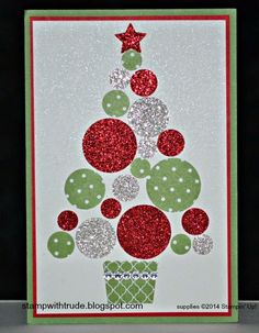 Stampin' Up! , Trude Thoman, stampwithtrude.blogspot.com, sparkly Christmas tree card, cupcake builder punch