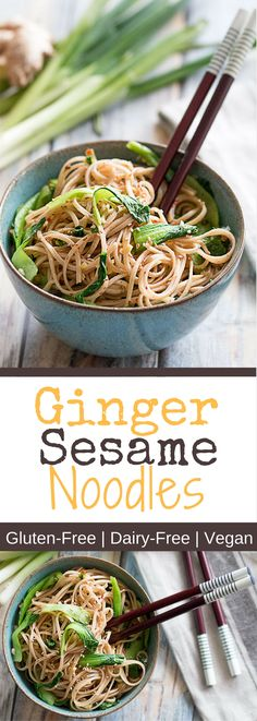 This easy Ginger Sesame Noodle recipe is the perfect midweek lunch and put together in just 15 minutes. It is vegan, gluten-free and extremely delicious. Try it yourself!