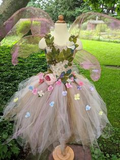 me ~ Ethereal Gaia Fairy costume dress, woodland fairy dress, fairy birthday dress, fairy festival dress, romantic pink flower girl dress Fairy Costume Kids, Woodland Fairy Costume, Fairy Princess Costume, Flower Girls, Pink Flower Girl Dresses, Girls Dresses, Fairy Clothes, Fairy Birthday, Fairy Dress