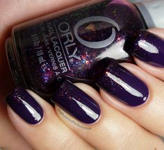 Purple nails with Orly Fowl Play sponged on to the tips.