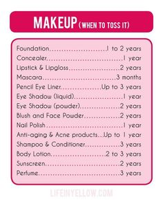 How old are your products? Check out this great guide on how long your make-up is good for, along with when to toss that Skincare, Perfume, Lotion, Nail Polish and More!! Restock your cabinets with some amazing products today! Money back guarantee! No questions asked! http://ksmyth.avonrepresentative.com