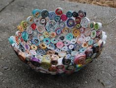 Recycled paper bowls, wreaths, and sculptures