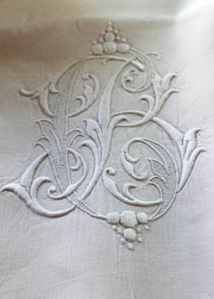 ⌖ Linen & Lace Luxuries ⌖   antique B monogrammed linen sheet