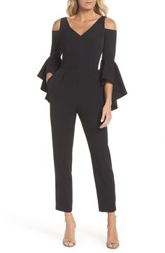 Billowy ruffles cascade down and around the elbows on this sophisticated jumpsuit designed with cold-shoulder cutouts and slim-cut pants. Designer Jumpsuits, Black Jumpsuit, Elegant Jumpsuit, Beautiful Blouses, Fashion Colours, School Fashion, African Fashion, Cold Shoulder, Clothes For Women
