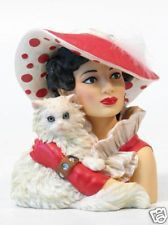 HEAD VASE CAMEO GIRLS EMMA 1944 HOLDING WHITE CAT MIB