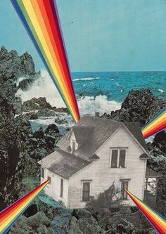 Rainbow House Art Print by Collage al Infinito by Trasvorder Collage Foto, Art Du Collage, Surreal Collage, Surreal Art, Digital Collage, Digital Art, Photo Collages, Collage Frames, Mixed Media Collage
