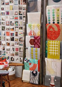 Carolyn Friedlander and the quilts from her new book Savor Each Stitch.