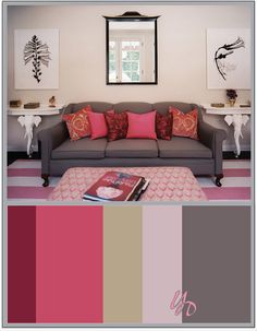Lonny Photo + Palette of Pink and Grey Best Office Colors, Office Color Schemes, Ikea, Wood Interior Design, Color Inspiration, Brand Inspiration, Soup Crocks, Rustic Contemporary, Pink Room