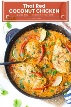 Thai Red Curry inspired coconut chicken chicken pieces swimming in a rich coconut sauce with blended up herbs and spices and sliced red bell pepper Ready in under 30 min. Indian Food Recipes, Paleo Recipes, Asian Recipes, Cooking Recipes, Ethnic Recipes, Paleo Meals, Free Recipes, Thai Coconut Chicken, Thai Chicken Curry