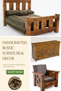 Find the perfect rustic furniture for your home or cabin. At Log Furniture Place, each piece is unique be Find the perfect rustic furniture for your home or cabin. At Log Furniture Place, each piece is unique because no two trees grow alike. Unique Wood Furniture, Rustic Log Furniture, Cabin Furniture, Farmhouse Furniture, Furniture Plans, Furniture Decor, Furniture Design, Furniture Dolly, Furniture Outlet
