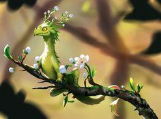 ArtStation - Spring dragon, Oana Roxana Birtea (Yuuza) (With images) Cute Fantasy Creatures, Mythical Creatures Art, Mythological Creatures, Magical Creatures, Creature Concept Art, Creature Design, Fantasy Kunst, Fantasy Art, Tiny Dragon