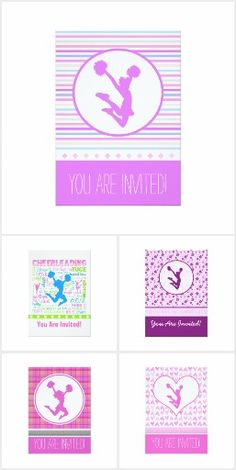 Cheer/Pom Invitations by Golly Girls - Invitations for birthday parties, banquets, or other events with a CHEERLEADING or POM theme!