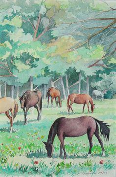 Chevaux à l'orée du bois