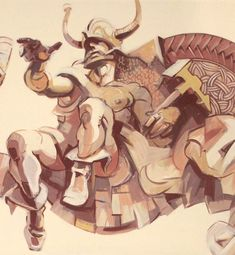Viking warrior mural detail, Horia Ghelu.
