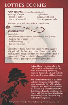 Lottie Moon's own #recipe for delicious shortbread cookies. A century ago, the IMB missionary gave these cookies to Chinese children and neighbors to build friendships. Bake a batch and celebrate an inspiring legacy! http://eastasianpeoples.imb.org/resources/archived-resources/