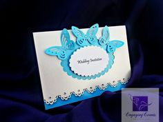 Butterfly & gem wedding invitation. Can be created in most colours & include main invitation text with RSVP details. Info@engagingevents-bykate.co.uk