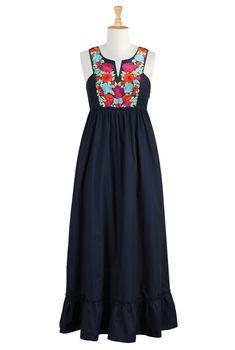 Vibrant Floral Bib Front Maxi Dress, $69.95, eShakti | Community Post: 27 Fabulous Plus-Size Maxi Dresses Under $100