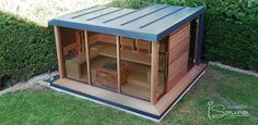 Outdoor sauna house with shower