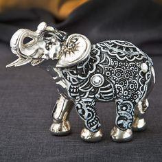 FashionCraft Marble Elephant Boho Fiesta Figurine