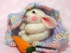 Bunny CLASS Wool Needle Felted  BUNNY Class in PDF by barby303, $45.00