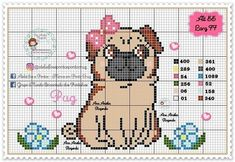 Cute Cross Stitch, Cross Stitch Charts, Cross Stitch Patterns, Pugs, Pug Cross, Plastic Canvas, Teddy Bear, Puppies, Embroidery
