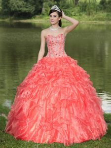 Orange Red Sweetheart Ruffles Accent Beaded Sweet 15 Dresses