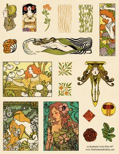 Art Nouveau women and floral domino pendant and greeting card panel rubber stamps set from The Enchanted Gallery