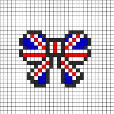 Union Jack British Flag Bow Perler Perler Bead Pattern | Bead Sprites | Misc Fuse Bead Patterns