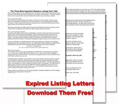 Expired Listing Letters -- popular download for #realtors #marketing to #expired #listings. FREE download.