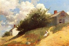 "Winslow Homer, ""Houses on a Hill"" (1879; olio su tela, 57,4 x 40,3 cm)."