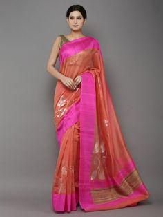 Peach Pink Handwoven Banarasi Cotton Silk Saree