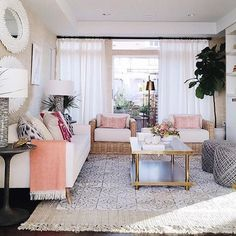 """When you look up """"fresh"""" in the dictionary, this is what comes up. ✨Shop the look of this layered living room by tapping the link in our profile!✨ [design: @massuccowarnermiller, : @houseofhipstersblog] #myoklstyle #regram"""