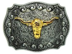 Vintage Longhorn Slive Color Men/'s Belt Buckles for women Cowboy Native American