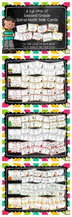 This bundle of task cards is the perfect way to keep your second graders practicing all of the math skills you are teaching! This bundle includes nine months of task cards (September-May).