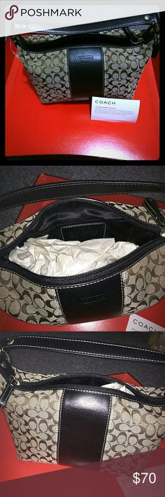 Small Coach signature handbag Brand new, never used,  Coach signature handbag with black leather strap and details... Open to offers Coach Bags