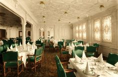 First Class Dining Saloon (2). The First Class Smoking Room, located on the Promenade or A Deck, perhaps best served to epitomize the care and expense lavished on the Titanic's interior.  A carefully orchestrated assembly of carved mahogany-paneled walls, inset with leaded glass panels and etched-patterned mirrors, enclosed the handsomely tiled floor, on which sat massive leather-covered armchairs set before or beside lovingly carved, marble-topped tables.