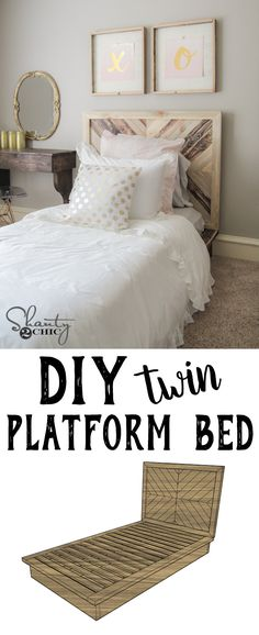 LOVE this DIY bed! So cute! Free plans and tutorial at www.shanty-2-chic.com!