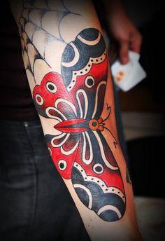 Old school butterfly tattoo by ikits tamás Sexy Tattoos, Body Art Tattoos, Tatoos, Think Tattoo, I Tattoo, Future Tattoos, Tatting, Piercings, Graffiti