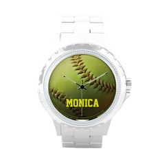 """Yellow Softball Wrist Watches $63.95 A yellow softball isolated. Fastpitch softball league ball with natural shading. Perfect for team gifts, awards, personal gifting. """"Name"""" or your text!"""