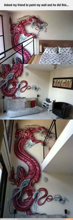 Funny pictures about Red Dragon Paint Job. Oh, and cool pics about Red Dragon Paint Job. Also, Red Dragon Paint Job photos. Red Dragon Painting, Painting & Drawing, Diy Painting, Wall Drawing, Dragon Rouge, Cool Dragons, Amazing Red, Awesome, Wow Art