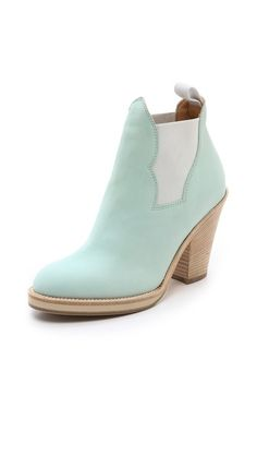 Acne Studios Star Ankle mint Booties, with white jeans and denim top…x Shoes 0a2aba68824