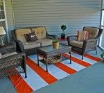 Painted drop cloth rug for the patio. No joke.