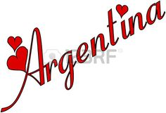 Argentina Text sign in italian on white Background