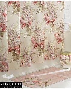 J. Queen New York Shabby Rosemoore Fabric Shower Curtain Floral Chic Pink White