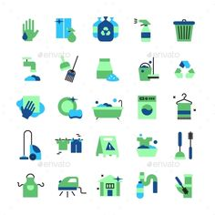 Cleaning flat color icons set of household items with vacuum cleaner iron bucket rubber gloves mop brush and broom isolated vector