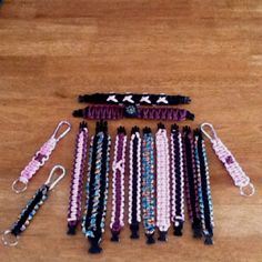 Survival bracelets, dog/cat collars, anklets and keychains. $5.00ea. Up to 2 colors. Many other colors available. $3.00 shipping free on orders of 5 or more. Prices vary on size. Made from 550 parachute cord with a breaking strength of 550lb  Any questions or to place an order email nickvicki97@yahoo.com
