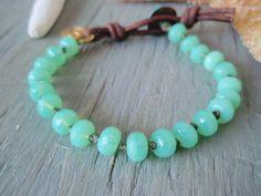 Knotted bracelet Sea of Love seafoam aqua sea by slashKnots
