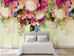 Murwall Floral Wallpaper Vintage Pink Flower Wall Mural Peony Blossom Wall Print Nordic Home Decor Cafe Design Living Room Bedroom Entryway Plant Wallpaper, Wallpaper Size, Flower Wallpaper, Wall Wallpaper, Living Room Themes, Living Room Bedroom, Living Room Designs, Living Rooms, Bed Room